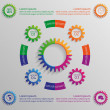 Infographic background with colorful gears — Stock Vector