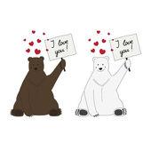 Polární a hnědý medvěd učinit prohlášení o lásce — Stock vektor
