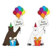 Brown and polar bears congratulate with happy birthday — Stock Vector