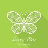 緑の背景に、珍しい蝶春カード — ストックベクタ