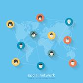 Flat design concept of social network — Stock Vector