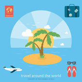 Modern background of flat design of traveling — Stock Vector