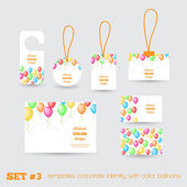 Set of templates corporate identity with color balloons — Stock Vector