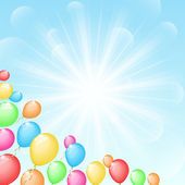 Sunny background with color balloons — Stock Vector