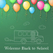 Sketch of school bus made on the blackboard with color ballons — 图库矢量图片