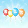 Sunny background with color balloons with the word sale — Stock Vector #50083525