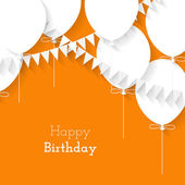 Simple card for birthday with a white paper balloons on orange background — ストックベクタ