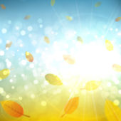 Sunny autumn abstract background with leaves — Vector de stock