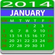 Stock Vector: Calendar for January 2014 year.
