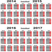Kalender binnen 2014,2015,2016,2017 Jahrs. — Stock Vector