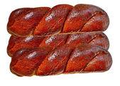 Productos alimenticios de panadería situado sobre un fondo blanco. — Foto de Stock