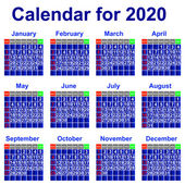 Calendar for 2020 year. — Stock Vector