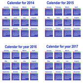 Calendar for 2014,2015,2016,2017 Year. — Stock Vector
