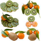 Ripe tangerine and kiwi. — 图库照片