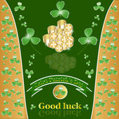 St. Patrick's Day with clover and gold. — Stock Vector