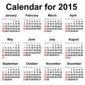 Calendar for 2015 year. — Stock Vector