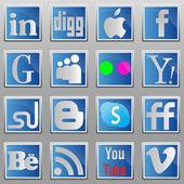 Social media oval icons. — Stock Vector
