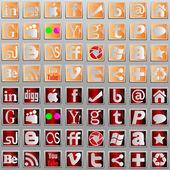 Social media l icons. — Stock Vector