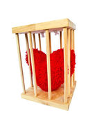 Heart in wood cage — Stock Photo