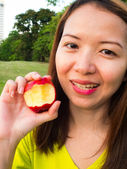 Woman and red apple — Stock Photo