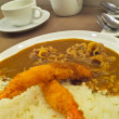 Japanese Curry rice with pork and shrimp or Ebi Tempura — Stock Photo #39053279