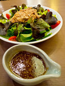 Tuna salad with salad dressing sauce japanese — Stock Photo