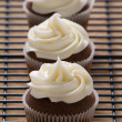 Chocolate gourmet cupcakes with cream cheese frosting — Stock Photo #22849888