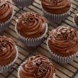 Delicious chocolate cupcakes with chocolate frosting — Stock Photo #22850088
