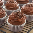 Delicious chocolate cupcakes with chocolate frosting — Stock Photo #22850230