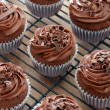 Delicious chocolate cupcakes with chocolate frosting — Stock Photo