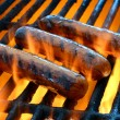 Flame grilled hot dogs - Stock Photo