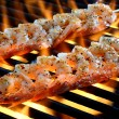 Skewered Shrimp Grilling Over An Open Flame — Stock Photo