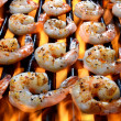 Shrimp Grilling Over An Open Flame — Stock Photo