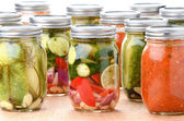 Vegetables and Sauces Preserved in Jars — Stock Photo