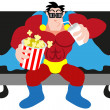 Superhero Watching A Movie — Stock Vector #23765731