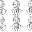 Stock Vector: Caricatured Faces Of Barack Obama