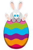 Rabbit On Easter Egg — Stock Vector