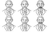 Caricatured Faces Of Barack Obama — Stock Vector