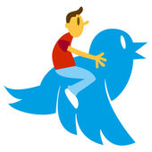 Man On Blue Bird — Stock Vector
