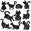 Cute Cats Vector Set — Stock Vector