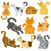 Cute Cats Vector Set — Stock Vector