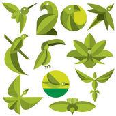 Birds Of Leaves Eco Logos Vector Set — Stock Vector