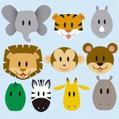 Cute Animals Vector Set — Stock Vector