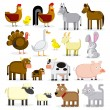 Set Of Different Cartoon Farm Animals Isolated — Stock Vector
