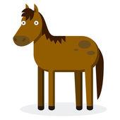 Cute Cartoon Horse Isolated On White Background — Stockvektor