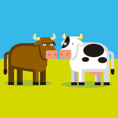 Cartoon Couple Of A Bull And A Cow — Stock Vector