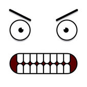 A Vector Cute Cartoon White Furious Face  — Vettoriale Stock