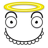 A Vector Cute Cartoon White Angel Face — Vector de stock
