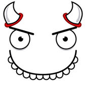 A Vector Cute Cartoon Devil Smiling Face — Vector de stock