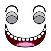 A Vector Cute Cartoon White Laughing Face — Vector de stock
